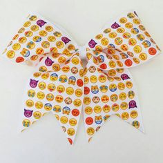 Emoji cheer bow, smiley cheer bow with from Bursting Cocoon