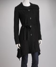 Take a look at this Black Knit Wool-Blend Sidetail Jacket by Michael K on #zulily today!