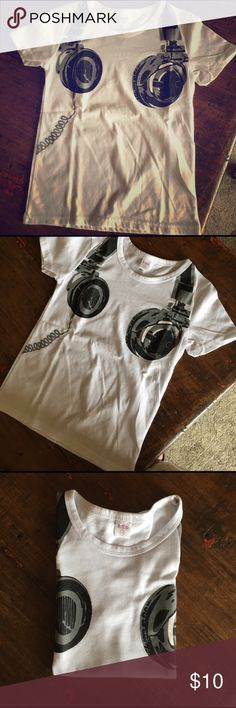 NWOT Super Cute - Headphone DJ Print T Shirt NWOT Super Cute - Headphone DJ Print T Shirt. My son got it for Christmas but too small. Cotton Blend. Shirts & Tops Tees - Short Sleeve