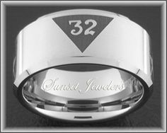 Freemason Tungsten Ring with Masonic 32nd Emblem. FREE Inside Engraving. Sunsetjewelers.com