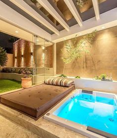 Home jacuzzi you got it! Inground Hot Tub, Jacuzzi Outdoor, Modern Hot Tubs, Private Sauna, Jacuzzi Room, Hot Tub Room, Piscina Interior, Small Room Design, Pool Designs