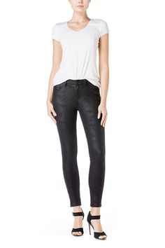 """Faux suedeFaux pocketsZip up button closureSkinny from thigh to ankle SpecsRise- 9.5"""" Leg Opening- 9.5"""" Inseam- 30"""" Fabric92% Polyster, 8% Spandex Imported"""