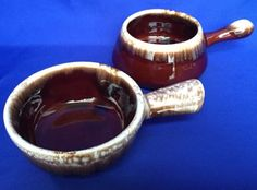 2-McCoy-Brown-Drip-Soup-Bowls-Handles-Made-in-USA-Handled-Glaze-VTG-Pottery