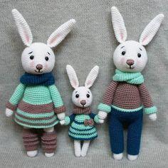 Hasenfamilie häkeln Spielzeug - kostenlose Amigurumi Muster