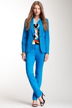 Vince Camuto Ponte Ankle Pant & Blazer in North Sea blue