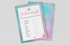 Baby Shower Games - Unicorn - The Price Is Right Price Is Right, Baby Shower Games, A5, Etsy Store, Unicorn, Printing, Invitations, Digital, Cards