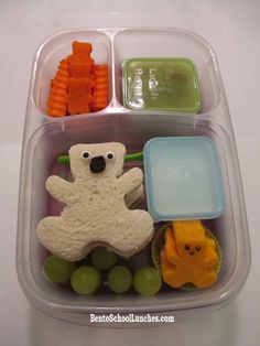 crinkle cut and bear shaped carrots - apple sauce with a sprinkle of cinnamon - ranch dip - happy bear shaped mild cheddar cheese - green grapes - happy bear shaped SunButter sandwiches with candy eyes and raisin nose #Lunchbox