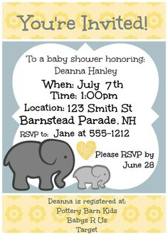 Customized Elephant Baby Shower Invites in Yellow by TheHaloEffect