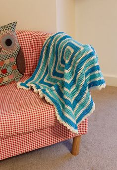 Cute handmade crochet blue and turquoise stripe by NavyLouise, £15.00 baby toddler blanket