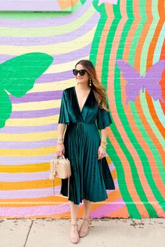 Green Velvet Pleated Fit and Flare Midi Dress and Chanel Bag : Green Velvet Pleated Wrap Dress Green Dress Outfit, Dress Outfits, Dress Up, Wrap Dress, Dress Shoes, Fashion Outfits, Fashion Trends, Green Velvet Dress, Velvet Midi Dress
