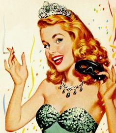 Mardi Gras queen in a Lucky Strike cigarette ad c. 1950s
