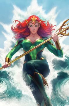 Mera is the crown princess of the underwater kingdom of Xebel, the reigning Queen of Atlantis and the fiancée of the hero Aquaman. Marvel Dc Comics, Mera Dc Comics, Dc Comics Girls, Dc Comics Art, Personnage Dc Comics, Batman, Superman, Non Disney Princesses, Super Heroine