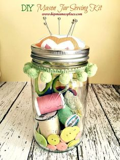 Easy DIY Mason Jar Pincushion Sewing Kit tutorial.. you'll love it! :)