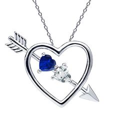 099 Ct Blue Simulated Sapphire Sky Blue Aquamarine Silver Heart  Arrow Pendant * You can find out more details at the affiliate link of the image.