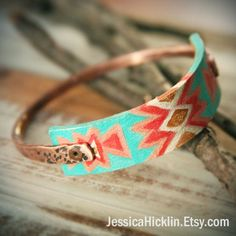 Hammered Copper Bangle with Hand Painted Leather Strip. $24.00, via Etsy. #NIce