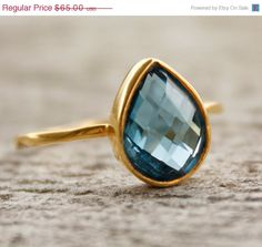 SALE Gold Blue Topaz Ring  Gemstone Ring  London Blue by OhKuol, $58.50