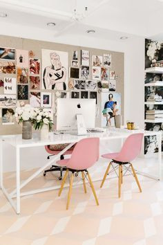 pink eames chairs    dream office!
