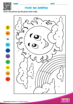 Printable maths color by number for preschool ,kids will be able to color the picture by the given color code.Help kids to identify the numbers easily. Kindergarten Coloring Pages, Kindergarten Math Worksheets, Number Worksheets, Worksheets For Kids, Fun Math, Preschool Activities, Alphabet Letter Crafts, Letter Tracing, Learning English For Kids