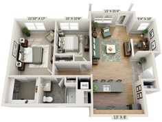 "1 Bedroom Apartment Floor Plans 3d 50 one ""1"" bedroom apartment/house plans 