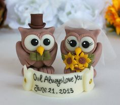 Rustic wedding cake topper  custom wedding owl by PerlillaPets