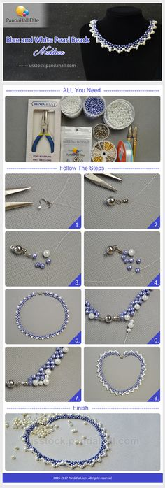 Pandahall Elite DIY blue and white pearl beads necklace