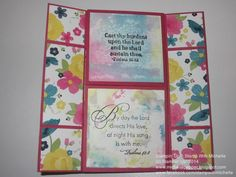 Stampin' Up! Flower Patch Never ending card page 2  also features Gingham Garden DSP and Say It With Scriptures, Elegant Inspirations, and Just Believe stamp sets