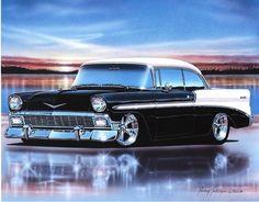 black 1956 chevy bel air hardtop art print