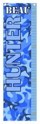 Personalized Growth Chart for Kids - Blue Camo