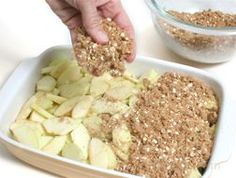 Apple Crisp. 6 c. sliced apples, 1 1/4 c. brown sugar, 3/4 c. Flour, 3/4 c. quick oats, 1/2 c. Butter, 1 tsp. Nutmeg, 1 1/4 tsp. Cinnamon 1.Preheat oven to 375. 2.Butter dish and place in sliced apples. 3.Combine remaining ingredients in a bowl 4.Sprinkle over the apples. 5.Bake for 30 min. ***Berries, peaches, pears & rhubarb can be used alone or in combination