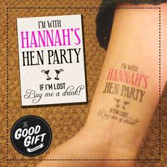 Hen do / party temporary tattoo any personalised text/ custom made transfer gift Hen Night Ideas, Hens Night, Hen Ideas, Hen Party Games, Bridesmaid Duties, My Perfect Wedding, Team Bride, Wedding Pics, Wedding Ideas