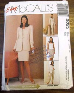 McCall's Sewing pattern no. 2025 Ladies suit & pants size 10-12 #McCalls