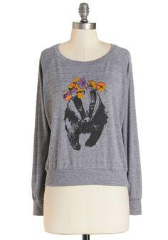 Badger to the Bone Sweatshirt. Feeling a little feisty? #grey #modcloth #hufflepuff