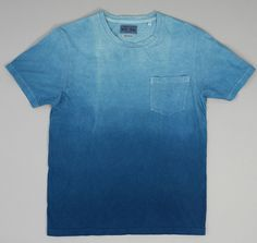 Gradation Dyed Slub Yarn Pocket T-Shirt, Pure Indigo :: Hickoree's