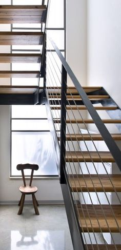 Wooden stairs in black frame