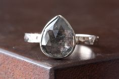 Image of Natural Rose Cut Black Diamond Ring in 14kt White Gold