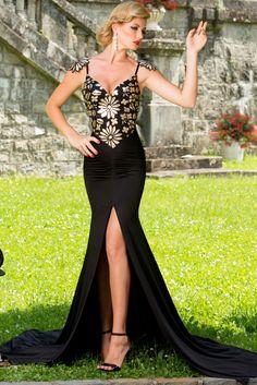 Boldgal Black Partywear Evening Club Western Evening Maxi Dress