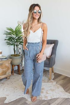 Hampton's Retreat Striped Jumpsuit - Navy/Ivory - Beach Vacation Outfits for Women Beach Outfits Women Vacation, Beach Outfit For Women, Summer Outfits Women Over 40, Florida Outfits, Beach Vacations, Summer Holiday Outfits, Boho Summer Outfits, Mom Outfits, Stylish Outfits