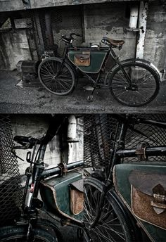 old military bike. I like the custom bags too
