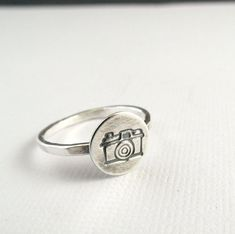 Camera Ring Sterling Silver Ring Stacking Ring by laureltreasures, $19.50