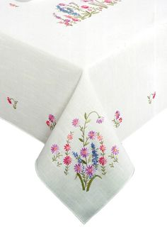 Tobin Wildflowers Stamped Oblong Tablecloth for Embroidery