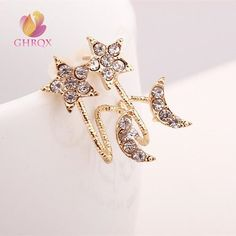 GHRQX Fashion  Jewelry wholesale Fashion Exquisite Star Love Moon Earrings 36pair free shipping