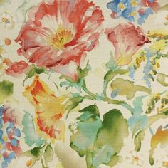 This is a beautiful pink, green and blue floral drapery fabric by Swavelle Mill Creek. This fabric is perfect for any home decorating project.v112PAEF