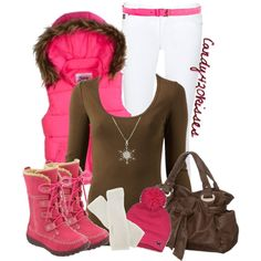 """""""warm and cozy"""" Pink and Brown Outfit by candy420kisses on Polyvore"""