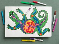 What's inside a lizard? Or a cat, bird, or even yourself? Imagine you have X-ray eyes. Show bright bones and opaque organs with Crayola® Color Switchers™ Markers.