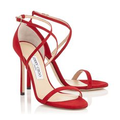 Jimmy Choo HESPER 110 Red Suede Sandals #immychooheelsaccessories