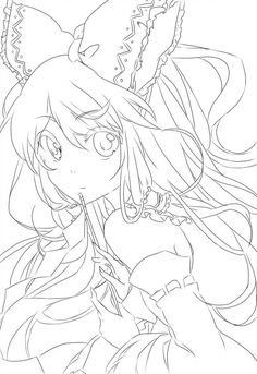Hakurei Reimu Lineart by on DeviantArt Anime Drawings Sketches, Cool Art Drawings, Anime Sketch, Chibi Coloring Pages, Colouring Pages, Coloring Books, Lineart Anime, Outline Art, Illustration Art Drawing