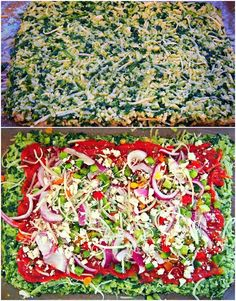 Veggie Pizza with Spinach/Cauliflower Crust