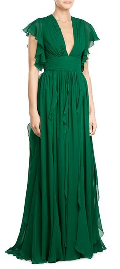 Rendered in a radiant shade of emerald green, Elie Saab's floor-grazing gown is sure to turn heads. A flutter of softly draped ruffles make this stunning silhouette a feminine option for your dressiest occasions #Stylebop