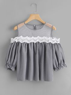Shop Sheer Mesh Panel Lace Trim Checked Top at ROMWE, discover more fashion styles online. Girls Fashion Clothes, Teen Fashion Outfits, Girl Fashion, Girl Outfits, Fashion Dresses, Fashion Design, Womens Fashion, Crop Top Outfits, Cute Casual Outfits