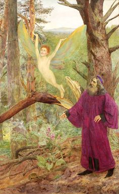 Prospero releasing Ariel from the Tree - Arthur Bentley Connor ~ Thomas Fine Art Charlotte Mason, Popular Culture, Shakespeare, Ariel, Fairy, Creatures, Fine Art, Nymphs, Fun